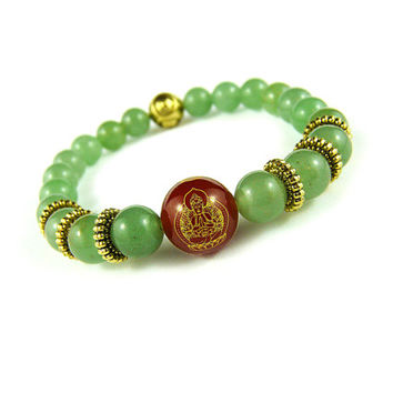 Kannon Buddha Bracelet, Women's Bracelet, Green Gold and Red Agate, Beaded Bracelet Chinese Symbol, Japanese Bracelet, Buddhist Mandala