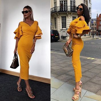 Bodycon Club Dress women Summer Celebrity Party Dress Yellow Ruffle Butterfly Short Sleeve long Dress elegant Banquet clothes
