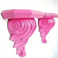 Ornate Wall Shelves Bright Pink Vintage Shelf Upcycled Shelf Baroque Wall Decor Hot Pink Set of 2