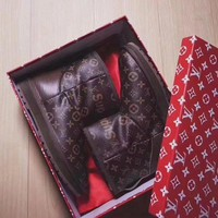 DCCKBA7 UGG x Louis Vuitton x Supreme Leather Snow Ankle Boots - High-end limited edition