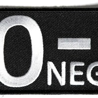 "Embroidered Iron On Patch - O Negative Blood Type 3"" Patch"