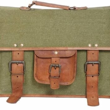 IN-INDIA Stylish Style Icon Leather Messenger Bag  (green, brown)