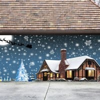 Christmas Garage Door Cover Banners 3d Santa In A Sleigh Holiday Outside Decorations Outdoor Decor for Garage Door G78