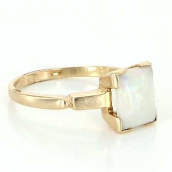Vintage Square Opal 14 Karat Yellow Gold Small Cocktail Ring Estate Fine Jewelry 7