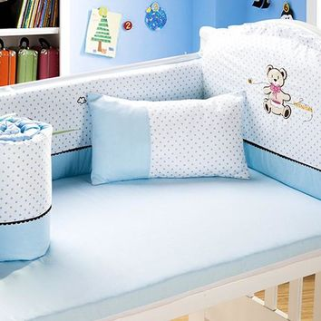 Promotion! 6PCS embroidered crib bedding set ,infant nursery set,baby bedding set bumper,include(4bumpers+sheet+pillow)