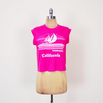 California Tshirt Sailboat Tshirt Beach Tourist Sleeveless Tshirt Tank Top Crop Tshirt Hot Pink Tshirt 80s Tshirt Women S Small M Medium