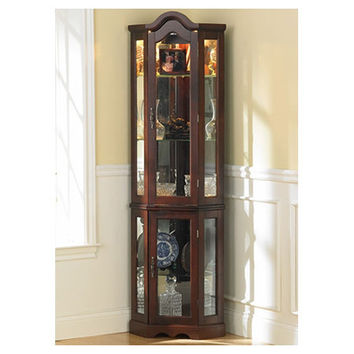 Caldwell Lighted Glass Doors Curio Cabinet