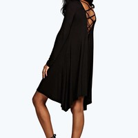 Leena Cross Back Swing Dress | Boohoo