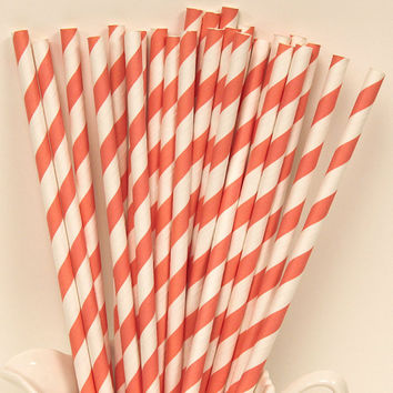SEASHELL CORAL Striped Paper Straws, 25 Light Coral Paper Drinking Straws with Diy flags, Party Straws, Weddings, Mermaid Parties, Go Fish