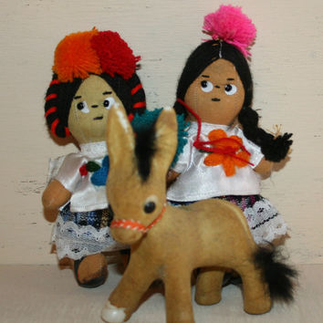Ethnic Dolls Cloth Mexican Dolls Flocked Donkey Hispanic Latino Mexico Tingalayo Ethnic Toys