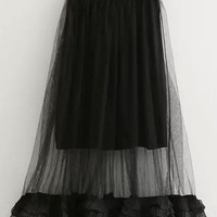 Black Sheer Mesh Ruffle Skirt