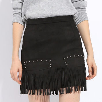 Women Vintage Fringe Suede Cocktail Bodycon High Waist Tassel Rivet Pencil Mini Skirt Plus Size SM6