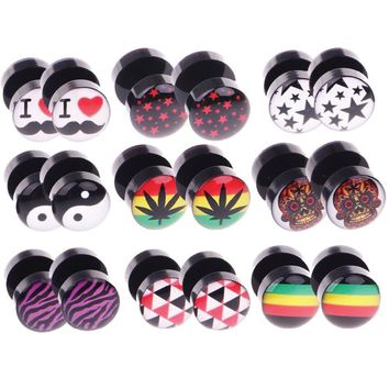 BodyJ4You 18PC Fake Plugs Logo Ear Gauges Cheater 00G Look 16G Acrylic Faux Studs Unisex Earrings