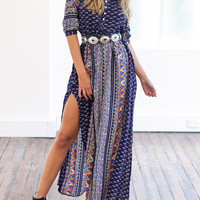 Multicolor V Neck Tribal Print Button Detail Split Dress - Choies.com