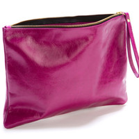 PASSION FRUIT - Leather clutch, leather purse, foldover clutch in magenta