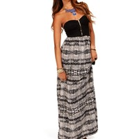 Black/White Strapless  Tribal Maxi Dress