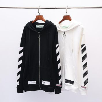 OFF-WHITE autumn new arrow graffiti men and women models hooded zipper sweater