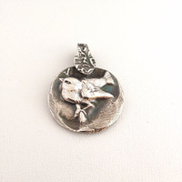 Adorable Sparrow Pendant - recycled silver - bird - wren - chickadee - nature - woodland wildlife - bird-watcher - spring - forest creature