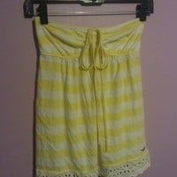 strapless top, yellow & white stripes