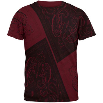 Bandana Paisley All Over Maroon Adult T-Shirt