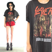 Vintage 1987 SLAYER Reign In Blood Tour T Shirt // 80s Black Band Tee // Metal Biker Boho Hipster // Small / Medium / Large