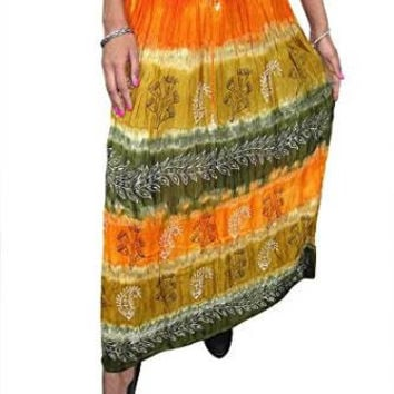 Womans Maxi Skirt Tie Dye Peasant Gypsy Hippy Boho Long Skirts (Color2)