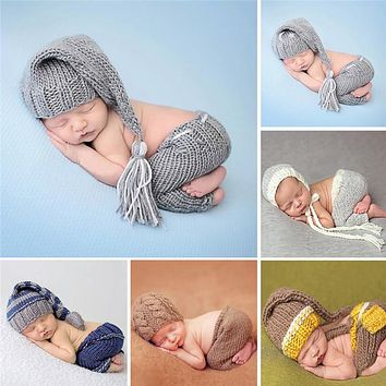 Handmade Knitting Soft Hat Pants Set Baby Clothing Set Winter Baby Costumes Suits Newborn Baby Photography Props