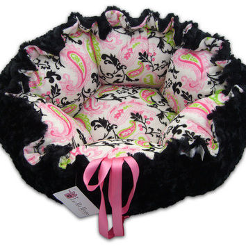 Small Paisley Hot Pink Black Pawd Minky Dog bed