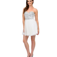 White Rhinestone & Sequin Glitter Chiffon Short Dress 2015 Homecoming Dresses