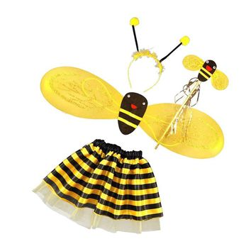 4Pc Bumble Bee Honey Girls Kids Fairy Halloween Fancy Dress Up Party Costume Gifts For Children