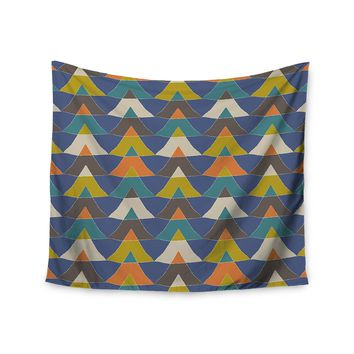"KESS InHouse Julia Grifol ""Colorful Triangles"" Blue Multicolor Wall Tapestry, 68"" X 80"""""