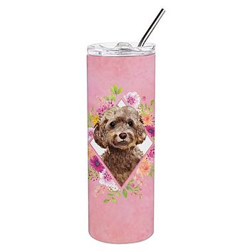 Chocolate Cockapoo Pink Flowers Double Walled Stainless Steel 20 oz Skinny Tumbler CK4253TBL20