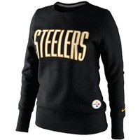 Nike Pittsburgh Steelers Ladies Tailgater Fleece Pullover Sweatshirt - Black