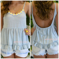 Avalon Light Blue Daisy Knit Tank Top