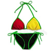 Rasta and Reggae Triangle & String Bottom Swimsuit @ RastaEmpire.com