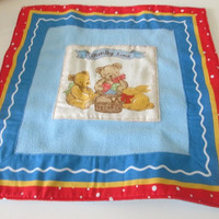 Toddler teddy bear fleece blankie and drawstring bag set