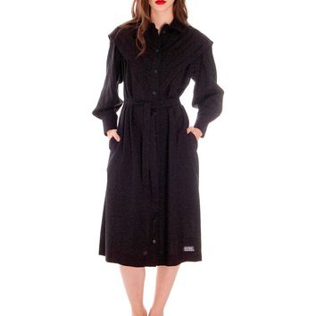 Vintage 1970s Marimekko Womens FIne Wool Shirt Dress 36/8 Pleated V Yoke