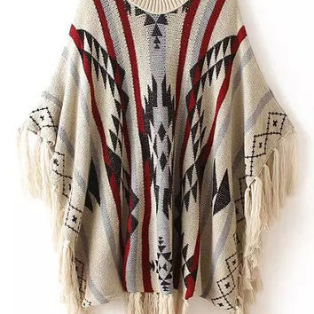Khaki Geometric Print Fringed Knit Sweater