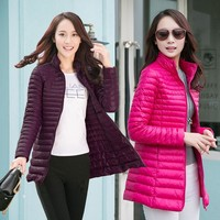 Women Fashion Snow Winter Jackets Ultra Light Zipper Coats Slim Outwear