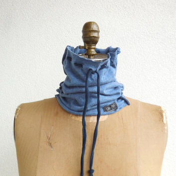 Blue T Shirt Neck Warmer / Cowl / Winter / Snood / Recycled / Upcycled / Cotton/  Soft  / Fashion / Fun / ohzie