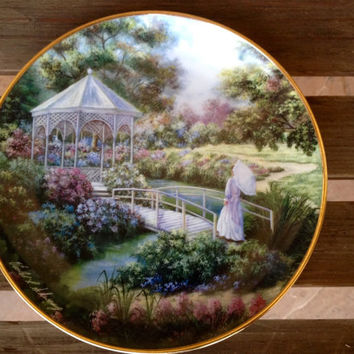 Garden Gazebo Plate -  Violet L. Schwenig Cottage Series Plate - Franklin Mint Collector's Plate