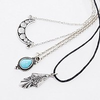 Turquoise Stone Necklace Layering Pack in Silver - Urban Outfitters