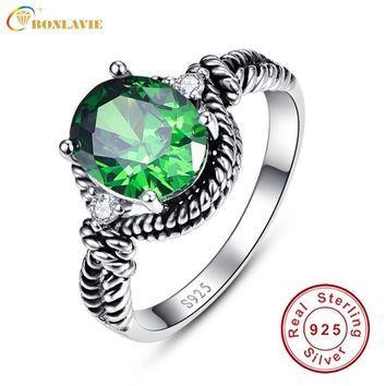 Vintage Genuine 925 Silver Rings 4.35Ct Round Emerald Ring Twisted Ring Jewelry Luxury Fashion for Women with Silver Certificate