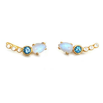 Rainbow Moonstone and Topaz Dream Climbers