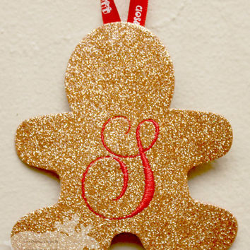 Gingerbread Ornament / Holiday Ornament / Glitter Ornament / Personalized Ornament / Monogrammed Ornament / Gold Ornament / Gold Glitter