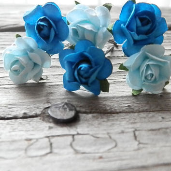 6 Aqua & Blue Rose Flower Hair Pins - Bridal Hair Accessories - Weddings - Bridesmaids Hair - Wedding flower crowns - Floral head piece