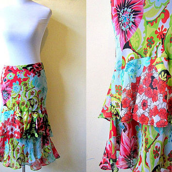 Spring Sale: floral layered high low pencil skirt (28 inches)