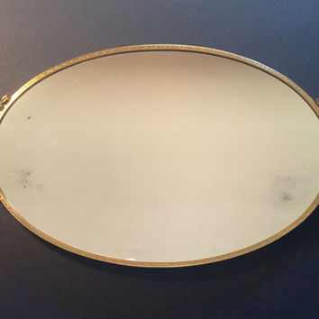 Vintage Gold Tone or Gold Plated Vanity Mirror by Matson/Oval Vanity Mirror/Bathroom Decor