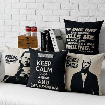 Fast & Furious Paul Walker Throw Massager Decorative Vintage Nap Pillow Cover Fiber Flax Emoji Pillows Home Decoration Gift