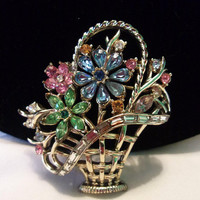 CoroCraft Coro FanFare Pink Blue Green Glass Rhinestone Flower Basket Vintage Rhinestone Brooch Pin